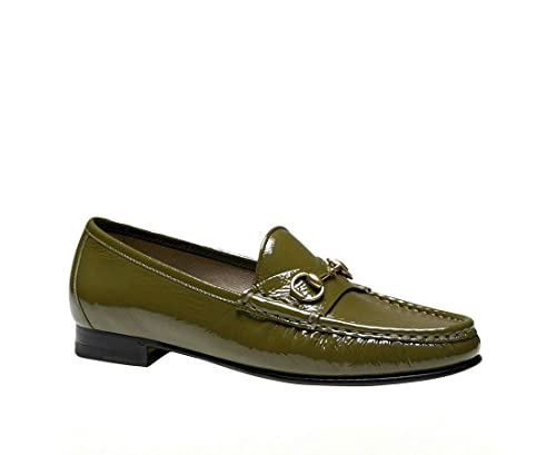 d60fe64280463 Gucci Women's Olive Green 1953 Patent Leather Horsebit Loafer 338348 ...