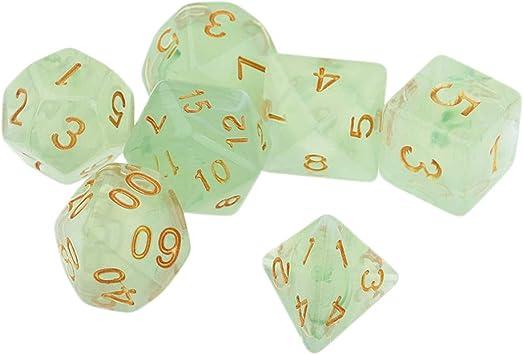 B Blesiya 7X Dice Dados Poliédricos para Juegos de Mesa de Tablero Juego de rol - Verde: Amazon.es: Juguetes y juegos