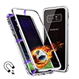 Galaxy Note 8 Case, Magnetic Adsorption Flip Cover Case, Metal Frame Hard Clear Tempered Glass (Samsung Galaxy Note 8, White)
