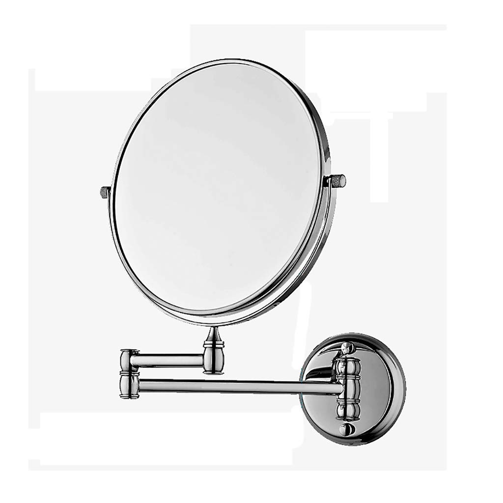 Wall-mounted Bathroom Folding Beauty Mirror Double Sided Telescopic Magnifying Vanity Mirror Shaving Mirrors (Size : 8 inches)