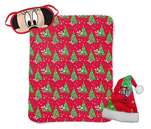 - Jay Franco Disney Minnie Mouse 3 Piece Holiday Set - Kids Christmas Bedding, Super Soft Sherpa Throw Blanket & Eye Mask Bonus Santa Hat (Official Disney Product)