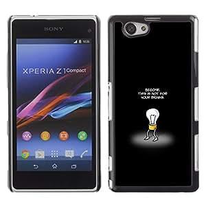 Sony Xperia Z1 Compact / Z1 Mini (Not Z1) - Metal de aluminio y de plástico duro Caja del teléfono - Negro - This Is Not For Your Brains
