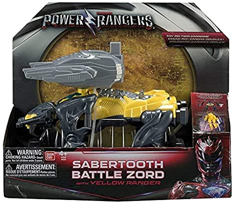Power Rangers Movie Sabertooth bataille Zord avec jaune RANGER Action Figure-NEUF