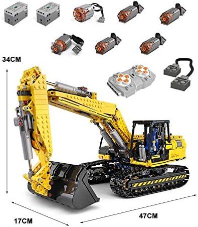 Foxcm Technic Escavatore, Technic Escavatore Motorizzato, Costruzioni Gioco con Telecomando e 6 Motori, 1830 Blocchi - Compatibile con Lego Technic