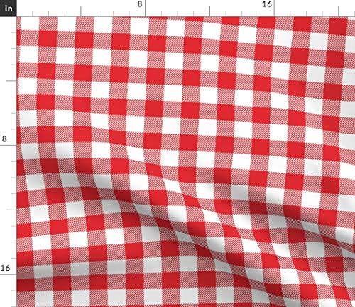 Classic Gingham Fabric - Red One Tartan Modern Upholstery Apparel Julies S Picnic Tablecloth Pinup Print on Fabric by the Yard - Petal Signature Cotton for Sewing Quilting Apparel Crafts Decor