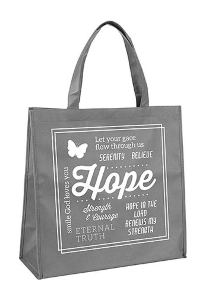 AT001 Pack of 12 Grey Hope Tote Bag, 13'' W x 13'' H x 6'' D.