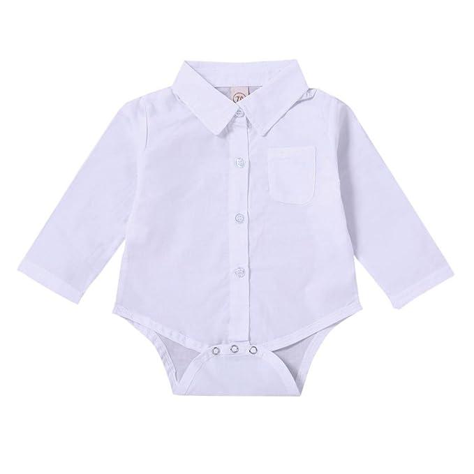 Yannerr Bebé niña niño manga larga camiseta tops Sólido mono, Recién nacido primavera mameluco blusa