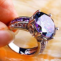 Nongkhai shop Mystic Rainbow White Topaz Amethyst Gemstone Silver Ring Size 7 8 9 10 11 12 New (11)