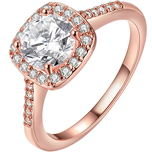 LWLH Jewelry Womens 18K Rose Gold Plated Princess Cut Square Solitaire White CZ Promise Ring Wedding Band Szie 7