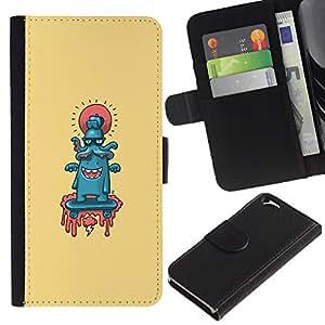 EJOY---Tirón de la caja Cartera de cuero con ranuras para tarjetas / Apple Iphone 6 / --Pulpo lindo Resumen