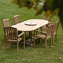 """New 7Pc Grade-A Teak Outdoor Dining Set- 72""""X40"""" Oval Double Extension Table & 6 Java Arm Chairs & Umbrella"""