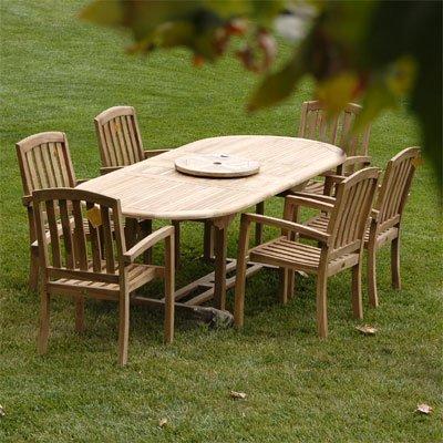 New 7Pc Grade-A Teak Outdoor Dining Set- 72