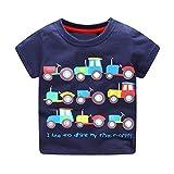 KaloryWee Clearance Sale Unisex Kids Boys Tops Pullover Sweaters Blouse Cartoon Trucks Printed Short Sleeve T Shirt Jumpers Sweatshirt Clothing 1 2 3 4 5 6 Years