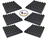 6 Pack - Acoustic Foam Sound Absorption Pyramid Studio Treatment Wall Panels, 2\