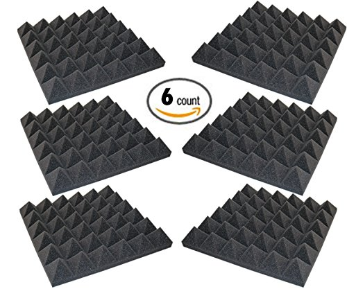 6 Pack - Acoustic Foam Sound Absorption Pyramid Studio Treatment Wall Panels, 2'' X 12'' X 12'' by Foamily