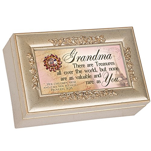 Cottage Garden Grandma Grandmother Champagne Silver Petite Rose Music Box / Jewelry Box Plays Amazing Grace (Music Box For Grandmother)