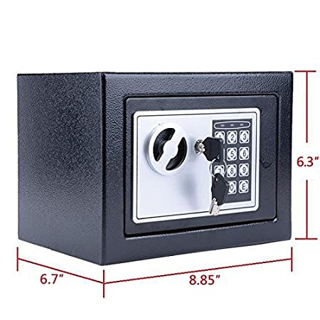 Black Digital Electronic Safe Security Box Fireproof Wall-Anchoring Safe Deposit Box for Money Jewelry Cash Batteries US Stock