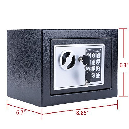 Digital Electronic Safe Security Box Fireproof Wall-Anchoring Safe Deposit Box for Money Jewelry Cash Batteries - US Stock (Black) by Flyerstoy (Image #5)