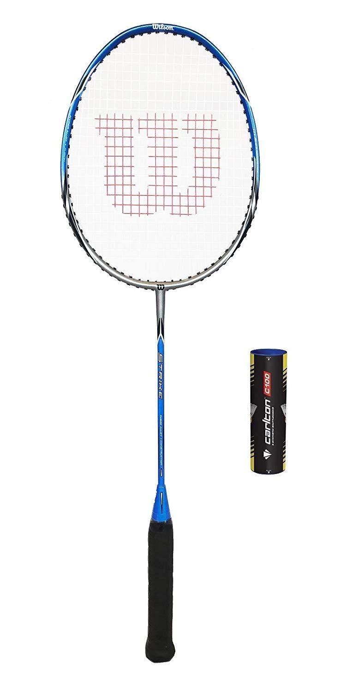 8058f510f6e Wilson Strike Badminton Racket (Bundle Options) (1 Racket + 3 Shuttles)   Amazon.co.uk  Sports   Outdoors