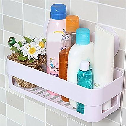 W& X multiuso plastica Kitchen Storage rack doccia portaoggetti organizer da parete del bagno mensola con ventosa White