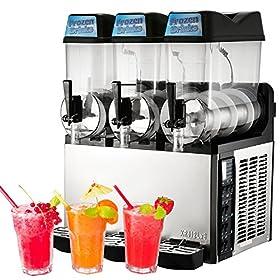 OrangeA 12L x 3 Frozen Drink Slush Machine Double Bowl Margarita Slush Frozen Drink Machine Frozen Drink Maker for Commercial and Home Use(Triple Bowls)