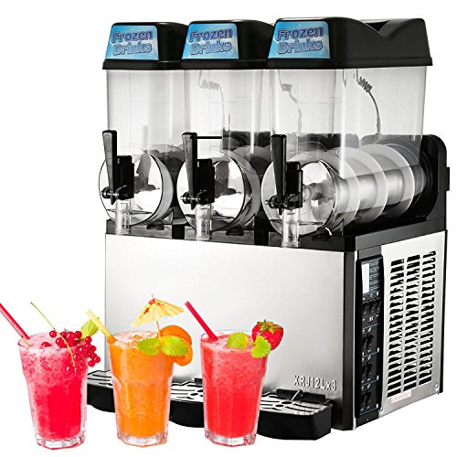VBENLEM Commercial Slushy Machine110V 600W Frozen Drink Machine Commercial Slushy Maker for Supermarkets Cafes Restaurants Snack Bars 12Lx3Tank