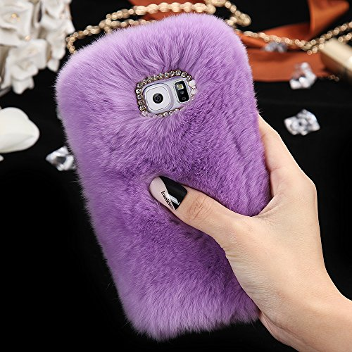 For Samsung Galaxy S6 Case, FLOVEME [Slim Fit] [Bling Diamond] Luxury Winter Soft Warm Faux Rabbit Fur Fuzzy Plush with Crystal Cute Bowknot Protective Back Cover for Girls Xmas Gift, Purple