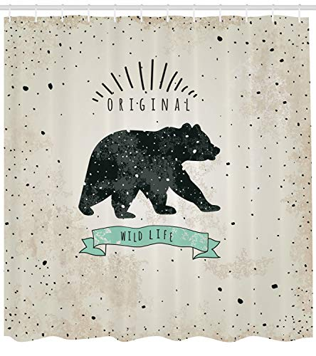 Ambesonne Bear Shower Curtain, Vintage Wildlife Label Hunting Theme Icon with Random Dots Predator Paws, Fabric Bathroom Decor Set with Hooks, 70 inches, Tan Black Mint Green