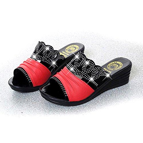 BOOWJESSSA - Zapatillas de estar por casa de Material Sintético para mujer Red