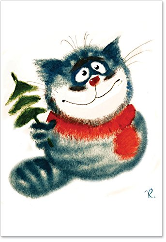 "1237 'Kitty Tree' - Funny Merry Christmas Greeting Card with 5"" x 7"" Envelope by NobleWorks"