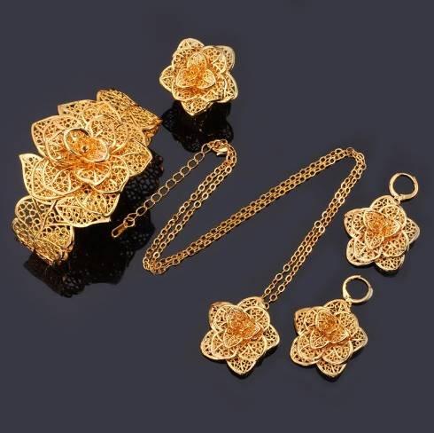 U7 Vintage Exquisite Flower Jewelry Set Platinum/Yellow Gold Plated Classic Wedding Bridal Jewelry Set For Women Gift S563(18 gold plated) (Wedding Platinum Set Jewelry)