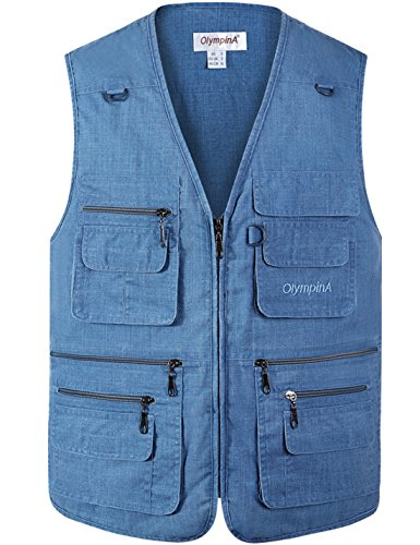 (Flygo Men's Summer Casual Fishing Photography Vest Multiple Pockets Outdoor Waistcoat Jacket (X-Large, Denim Blue))