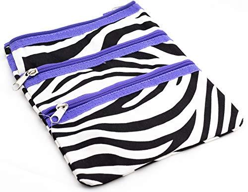 9 inch Teen Messenger Bag | Shoulder Bag | Swingpack Purse | Cross Body Bag by Unique Traveler (Zebra Print-Purple Trim)