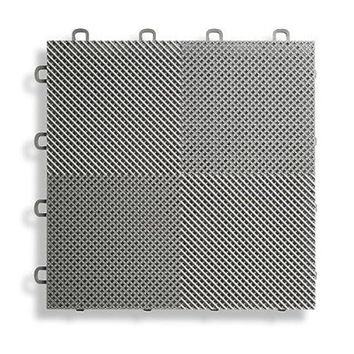Bon BlockTile B2US4630 Deck And Patio Flooring Interlocking Tiles Perforated  Pack, Gray, 30 Pack