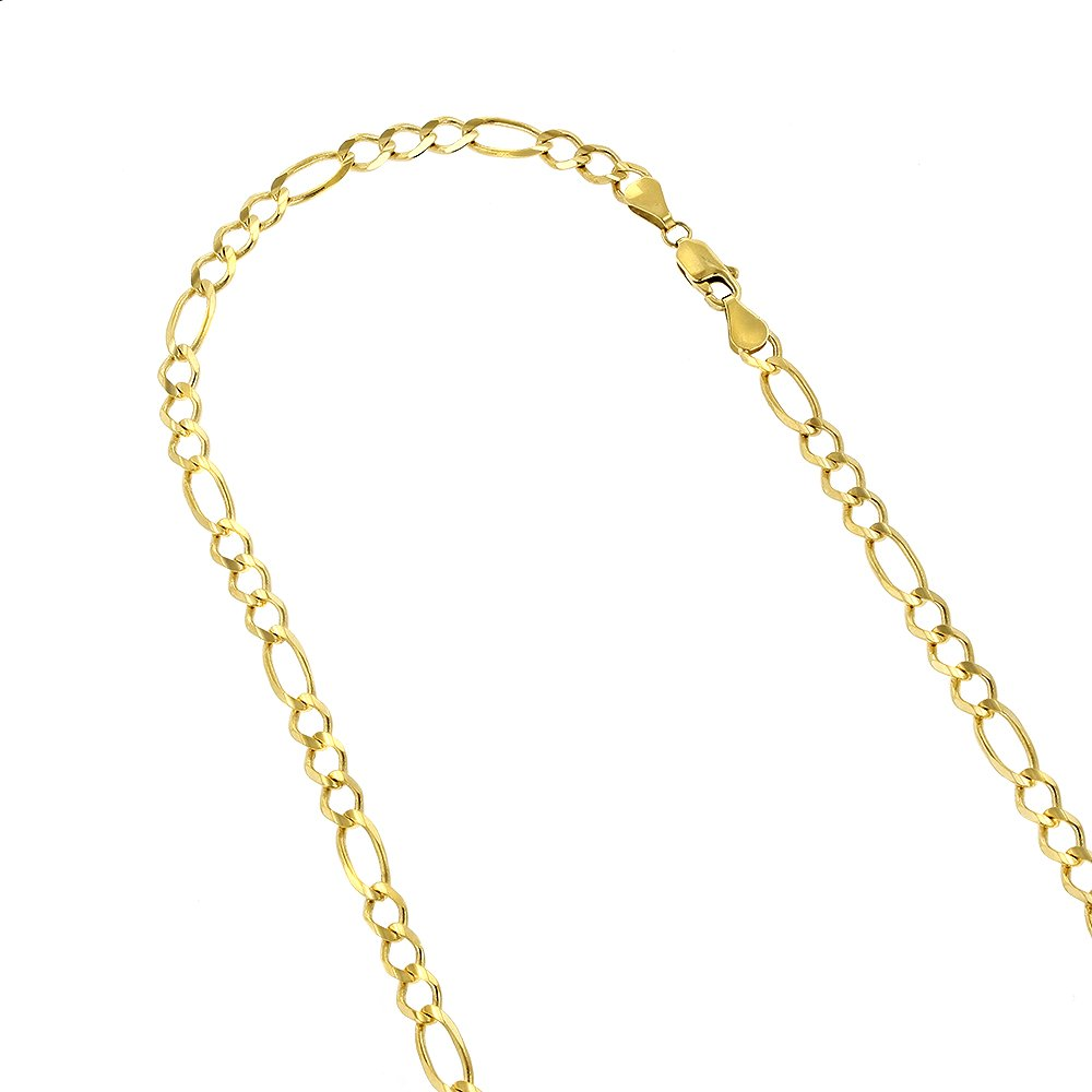 Luxurman 10K 8.5'' Yellow Solid Gold 6mm Diamond Cut Figaro Chain Link Bracelet with Lobster Clasp