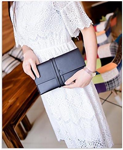 Women Clutch Long Wallet Purse with Bandage Design Cellphone Bag Card Holder