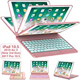 iPad Pro 10.5 Keyboard Case 2017/ iPad Air 3 Case with Keyboard 10.5 2019-360 Rotate 7 Color Backlit Wireless Keyboard with Smart Folio Hard Back Cover, Ultra Slim, Auto Sleep/Wake, Rose Gold