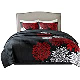 Comfort Spaces – Enya Quilt Mini Set - 3 Piece – Black and Red – Floral Printed Pattern – King Size, Includes 1 Quilt, 2 Shams