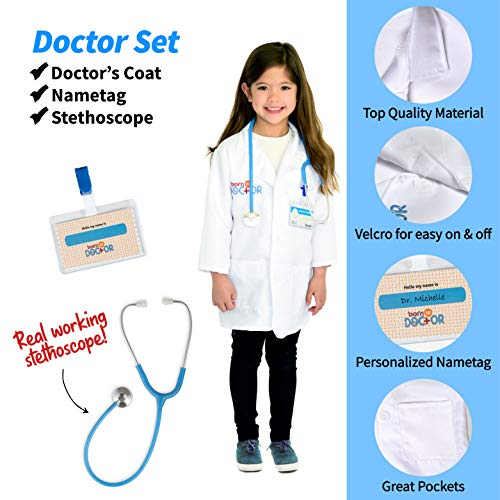 Born Toys Dress up Honorary First Responder 3 in 1 Deluxe Premium Trunk Dress up Set,Fireman Costume,Police Costume,Doctor KIT, Kids Ages 3-7