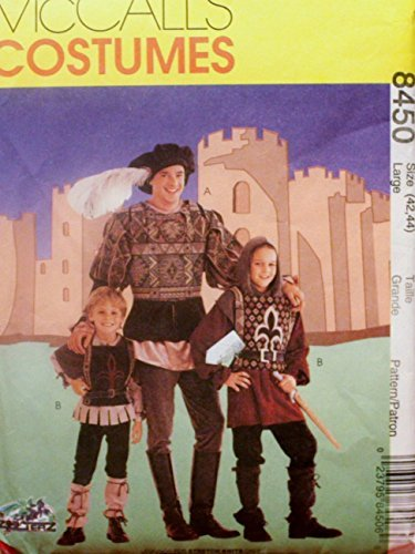 Mccalls Costume Patterns Medieval (McCall Sewing Pattern 8450 Large - Use to Make - Men's Medieval / Renaissance Costumes - Size Large (42, 44))