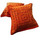 Krishna Mart India 5 Orange Mirror Work Embroidery Indian Sari Throw Pillow Toss Cushion Covers