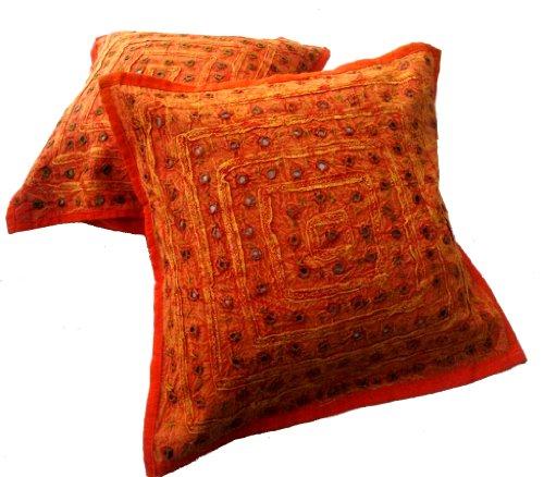 (Krishna Mart India Orange Mirror Work Embroidery Indian Sari Throw Pillow Toss 5 Cushion Covers)