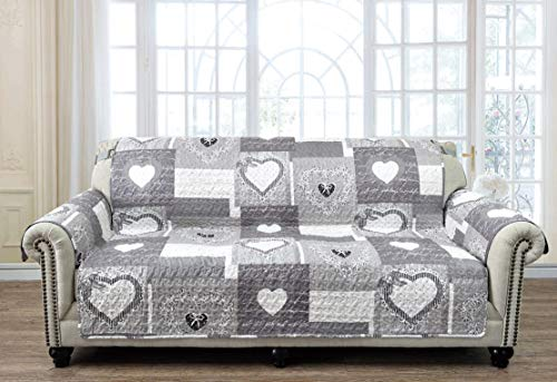 - Patchwork Sofa Protector 70 Inch Heart Love Vintage Print Reversible Quilted Scroll Embroidery Soft Layers/Filling, 2