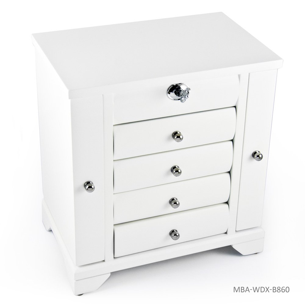 Contemporary 18 Note Matte White Spacious Musical Jewelry Box with Silver Hardware - There is No Business Like Show Business