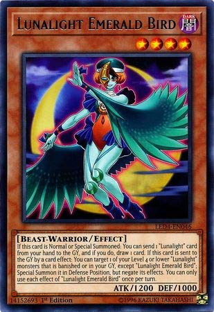 Yu-Gi-Oh! - Lunalight Emerald Bird - LED4-EN046 - Legendary Duelists: Sisters of The Rose - 1st Edition - Rare (Card Emerald Single Rare)