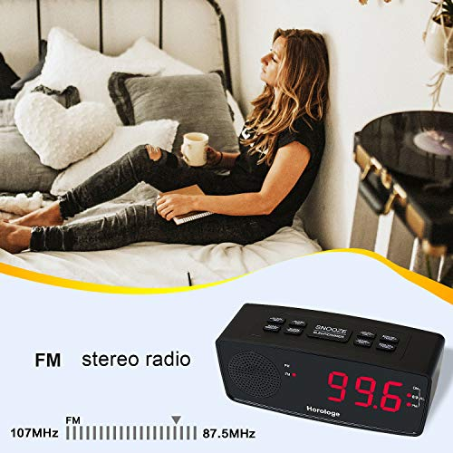 Digital Alarm Clock Radio with Dual USB Charging Ports, Easy Snooze, FM Radio with Sleep Timer, Large 1.2 LED Digits Display with Dimmer, Battery Backup for Bedrooms