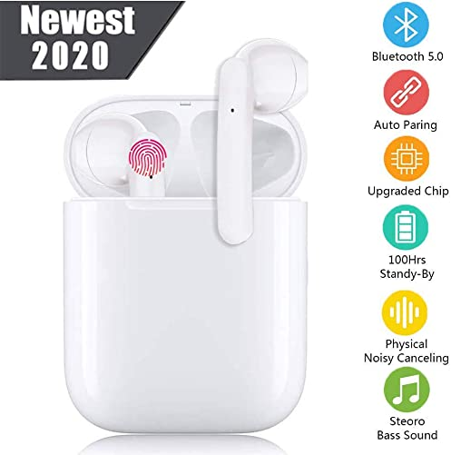 Bluetooth Wireless Earbuds Noise Canceling Sports Headphones with Charging Case IPX5 Waterproof Stereo Earphones in-Ear Built-in HD Mic Headsets for iPhone Android White