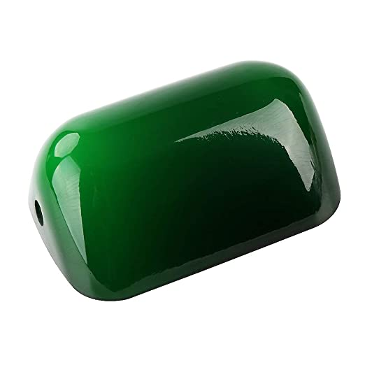Green Glass Bankers Bright Lamp Cover Bankers Lamp Glass Shade Cased Replacement Lampshade Size L15 Cm W9.5 Cm Lamp Covers & Shades