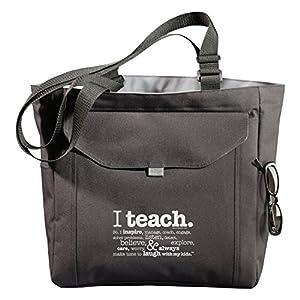 Teacher Peach Inspirational Teacher Tote Bag with Pockets, Utility Teacher Bag with Compartments & Organizers