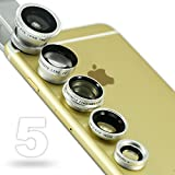 First2savvv JTSJ-5N1-16 silver mobile phone Universal 5 in 1 Clip Camera professional glass Lens Kit (fish eye, wide angle, macro, barlow and polarizer lens) for Apple iphone 6 plus iphone 6 &Nokia Lumia 530 Samsung Galaxy s5 mini&Motorola S, Shamu & Huawei Ascend G630, Mate 7 with LENS Cleaning Cloth